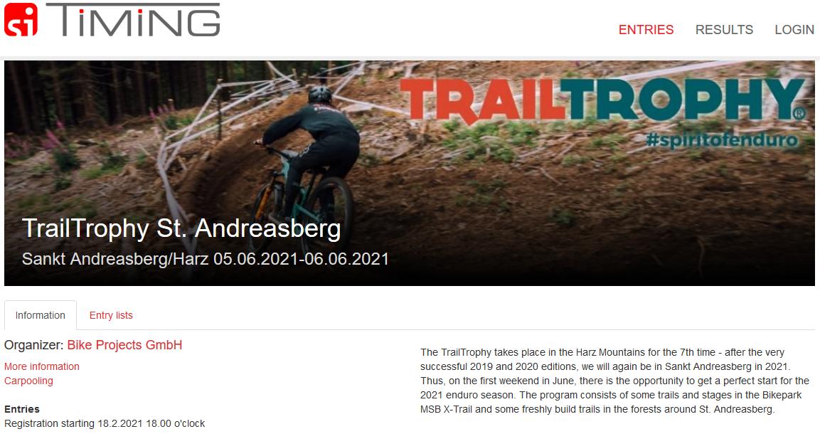Anmeldung zur TT Harz